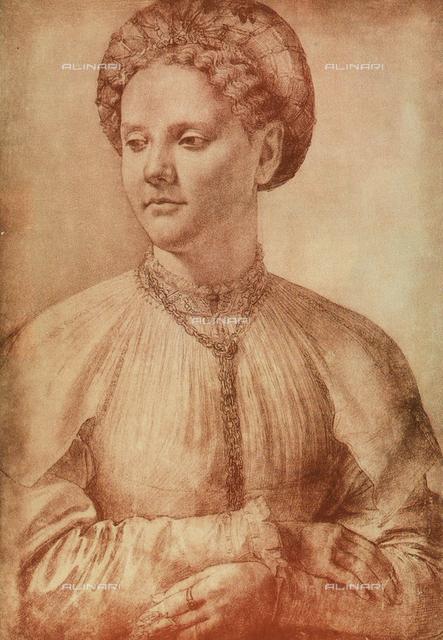 Portrait of a noblewoman, drawing; Gabinetto dei Disegni e delle Stampe, Uffizi Gallery, Florence