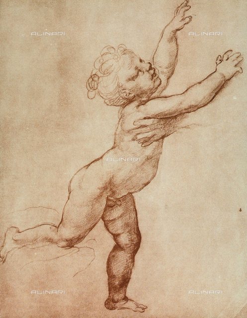 Child running into the arms of a person. Preparatory drawing preserved in the Room of Drawings and Prints in the Museum of the Uffizi, Florence