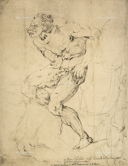 Studies for the Sistine Chapel, drawing by Michelangelo, Gabinetto dei Disegni e delle Stampe, Uffizi Gallery, Florence