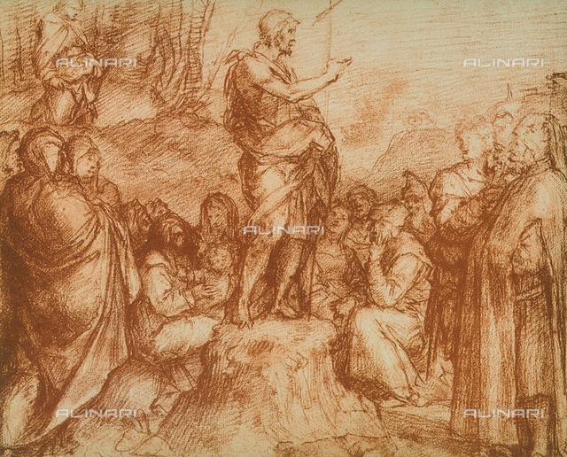 St. John the Baptist preaching to the multitudes, preparatory study for the fresco in the Chiostro dello Scalzo, drawing by Andrea del Sarto. Gabinetto dei Disegni e delle Stampe, Uffizi Gallery, Florence