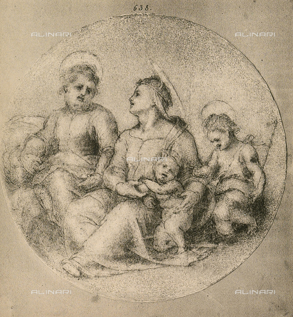 Holy Family with the Infant Saint John, drawing by Andrea del Sarto, Room of Drawings and Prints, Uffizi Gallery, Florence.