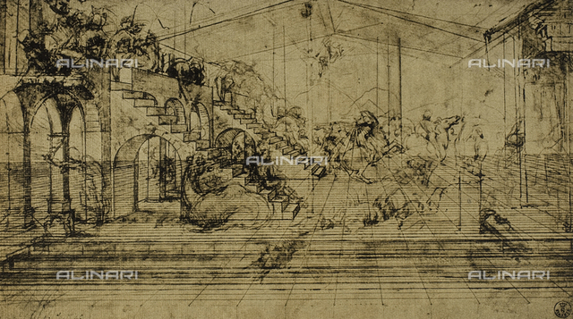 Study for the Adoration of the Magi, drawing by Leonardo, Gabinetto dei Disegni e delle Stampe, Uffizi Gallery.
