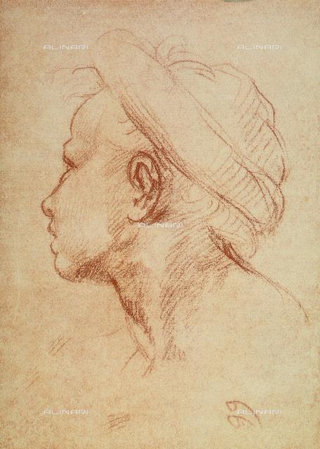 Male face in profile, Gabinetto dei Disegni e delle Stampe, Uffizi Gallery, Florence