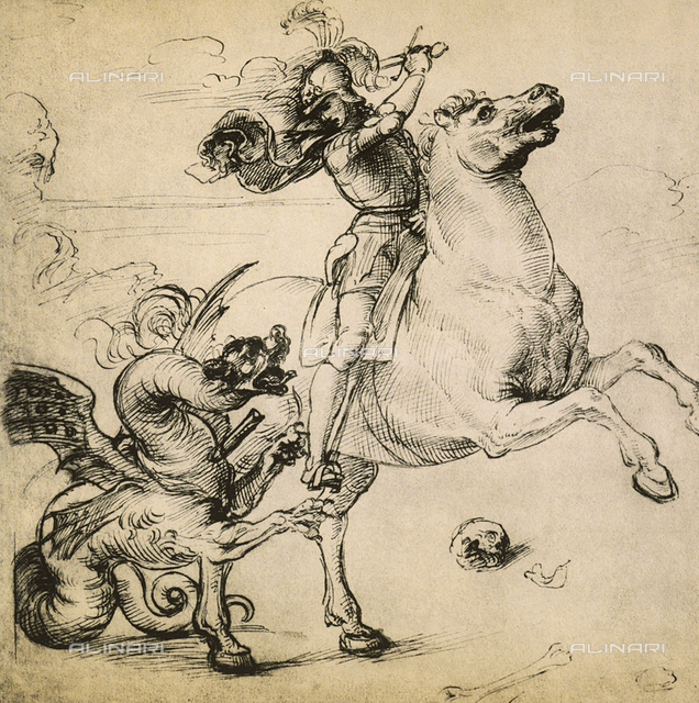 St. George and the dragon, drawing, Gabinetto dei Disegni e delle Stampe, Uffizi Gallery.