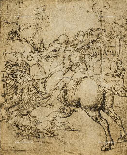 St. George and the dragon, drawing by Raphael, Gabinetto dei Disegni e delle Stampe, Uffizi Gallery, Florence