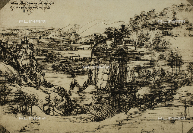 Landscape of the Arno Valley, pen on paper, Leonardo da Vinci (1452-1519), Cabinet of Drawings and Prints, Uffizi Gallery, Florence