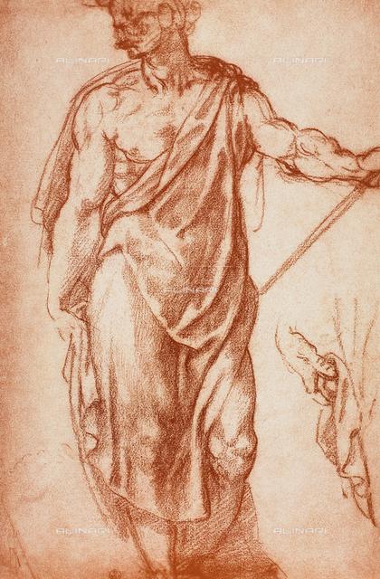Draped male figure, drawing, Gabinetto dei Disegni e delle Stampe, Uffizi Gallery, Florence
