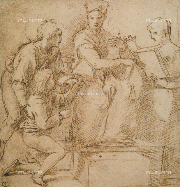 Four figures (Madonna and Child?), drawing by Raphael, Gabinetto dei Disegni e delle Stampe, Uffizi Gallery, Florence
