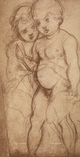 Two putti, study by Andrea del Sarto, Department of Drawings and Prints, Uffizi Gallery, Florence.