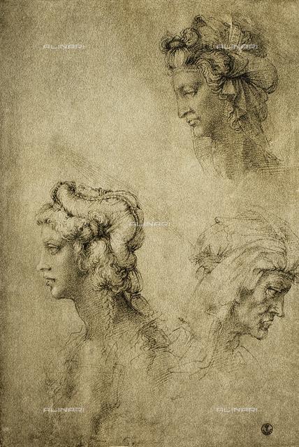 Study of female heads, Gabinetto dei Disegni e delle Stampe, Uffizi Gallery, Florence