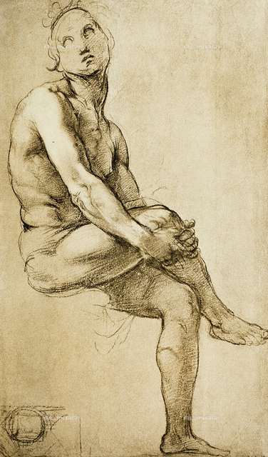 Seated male nude, drawing by Raphael, Gabinetto dei Disegni e delle Stampe, Uffizi Gallery, Florence