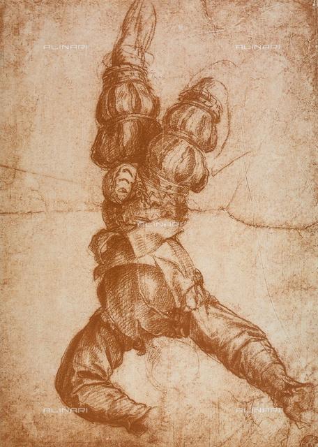 Clothed man falling downward, Gabinetto dei Disegni e delle Stampe, Uffizi Gallery, Florence
