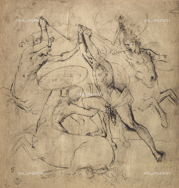 War of the Centaurs. Drawing by Raffaello preserved in the Room of Drawings and Prints in the Gallery of the Uffizi.