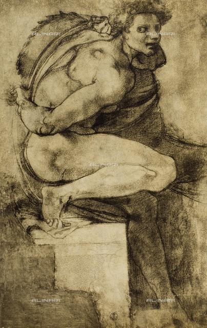 Study of a male nude with bent leg, Gabinetto dei Disegni e delle Stampe, Uffizi Gallery, Florence