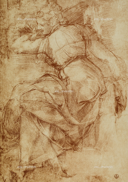 Study for the Libyan Sibyl on the vault of the Sistine Chapel. Gabinetto dei Disegni e delle Stampe, Uffizi Gallery, Florence