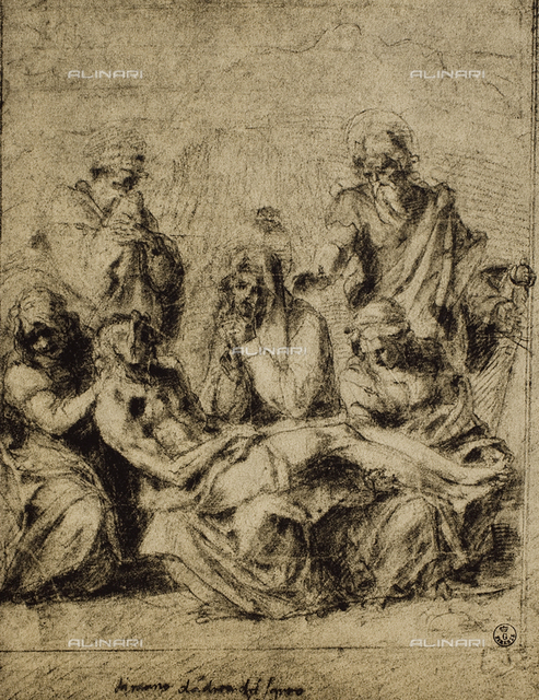 The Pietà, drawing by Andrea del Sarto, Room of Drawings and Prints, Uffizi Gallery, Florence.