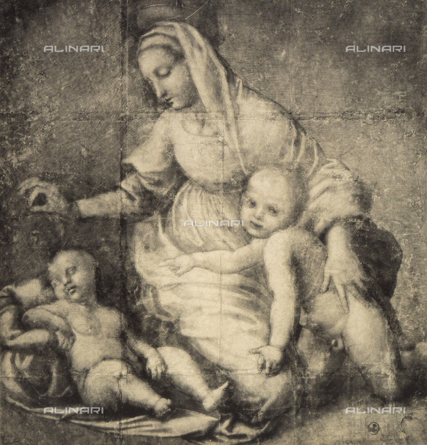 Study for the painting, depicting the Madonna and Child and the infant St. John, preserved in The Louvre. Gabinetto dei Disegni e delle Stampe, Uffizi Gallery, Florence