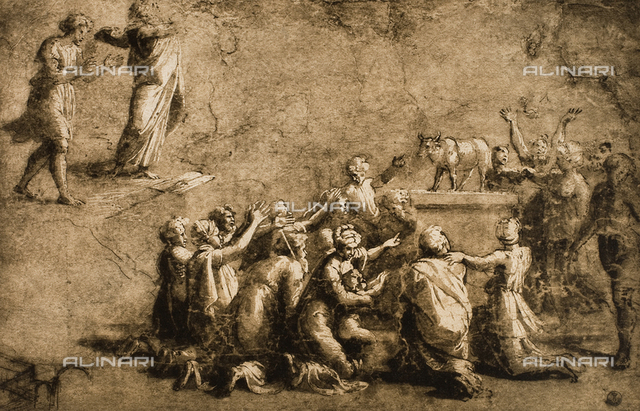 Moses Breaks the Tables of the Law; drawing by Raphael. Gabinetto dei Disegni e delle Stampe, Uffizi Gallery, Florence