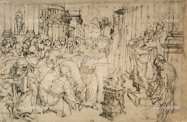 Sacrifice of the Bull, drawing. Gabinetto dei Disegni e delle Stampe, Uffizi Gallery, Florence