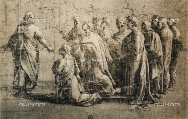 Chrit giving the keys to St. Peter; drawing by the school of Raphael, Gabinetto dei Disegni e delle Stampe, Uffizi Gallery, Florence