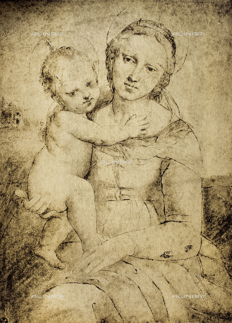 Madonna and Child, Raphael school, Gabinetto dei Disegni e Stampe, Uffizi Gallery, Florence