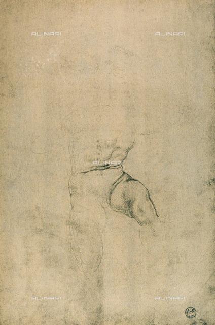 Male nude, Michelangelo, Gabinetto dei Disegni e delle Stampe, Uffizi Gallery, Florence