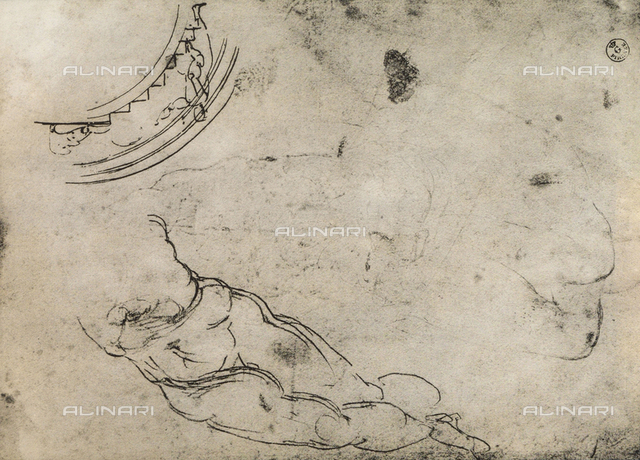 Male legs, study by Michelangelo, Department of Drawings and Prints, Uffizi Gallery, Florence.