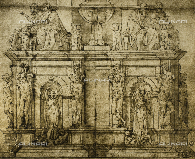 Preparatory drawing for the funeral monument of Julius II. Work by Michelangelo preserved in the Gabinetto dei disegni e delle stampe of the Uffizi Gallery