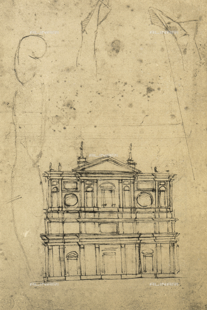 Study for the faà§ade of the Basilica of San Lorenzo, drawing by Michelangelo, Galleria Buonarroti, Florence