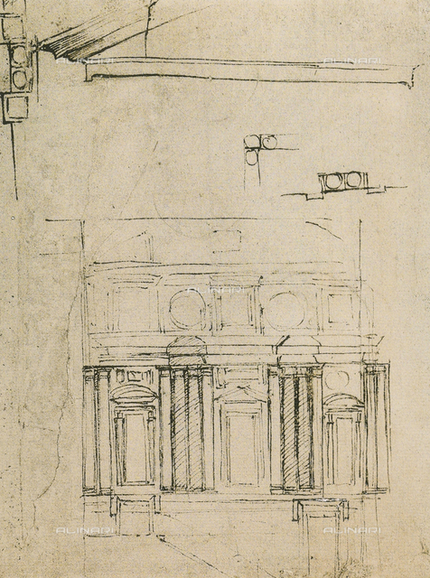 "Study for the facing of the ""Ricetto"" or refuge of the Biblioteca Laurenziana, drawing by Michelangelo, Galleria Buonarroti, Florence"