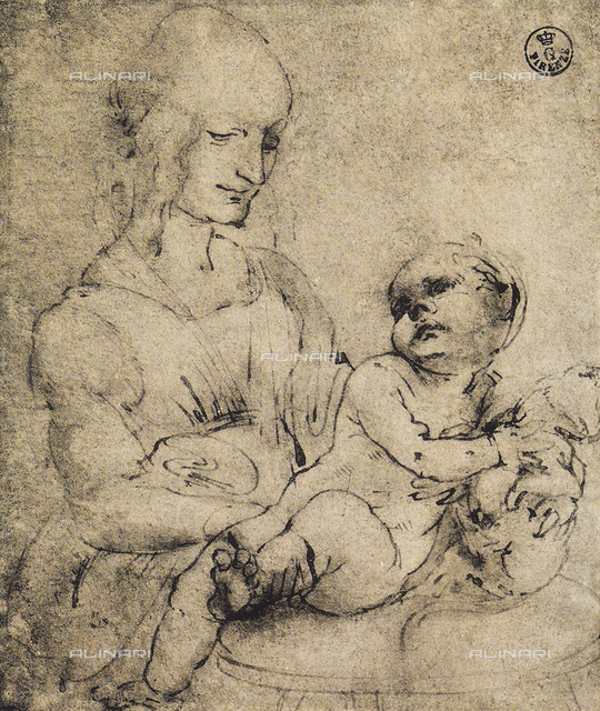 Virgin and child, study for the Madonna of the cat; pen and watercolor drawing on white paper, Gabinetto dei Disegni e delle Stampe, Uffizi Gallery, Florence