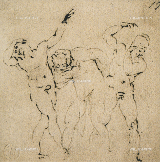 Three male figures, Michelangelo, Casa Buonarroti, Florence