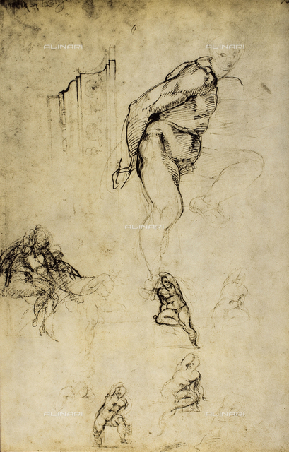 Study of male figures, Michelangelo, Casa Buonarroti, Florence