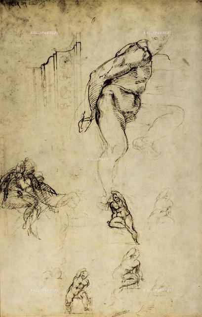 Study of male figures, Michelangelo, Casa Buonarroti, Florence