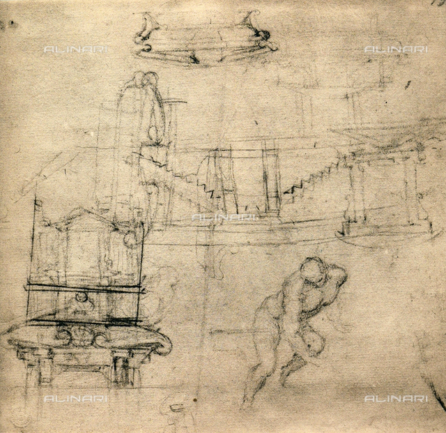 Study for the Medicean tombs, Michelangelo, Casa Buonarroti, Florence