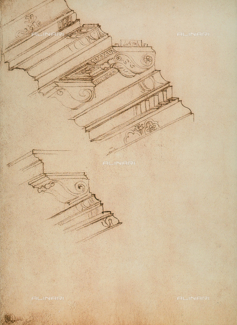 Study for two cornices, Michelangelo, Casa Buonarroti, Florence