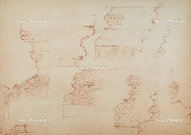 Study for various column bases, Michelangelo, Casa Buonarroti, Florence