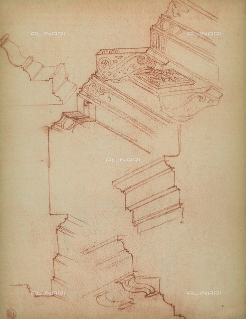 Study for various cornices, Michelangelo, Casa Buonarroti, Florence