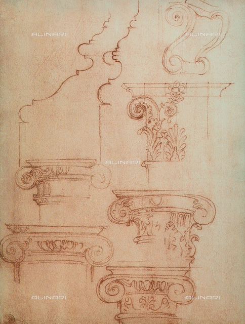 Study for various capitals, Michelangelo, Casa Buonarroti, Florence