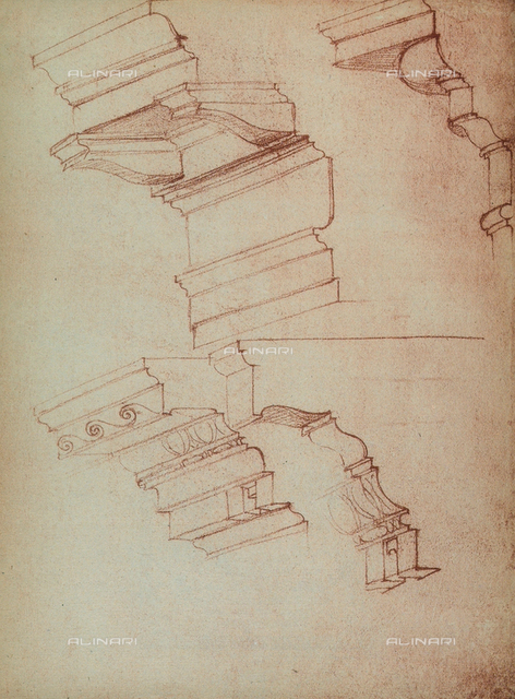 Study for the realization of a few cornices, Michelangelo, Casa Buonarroti, Florence