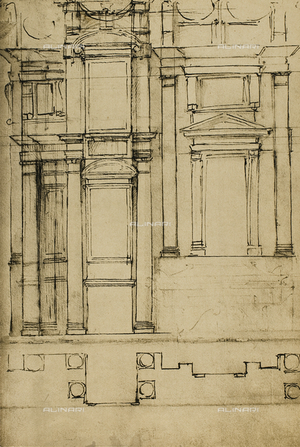 Architectonic study for the Medici Chapels in the basilica of San Lorenzo; drawing by Michelangelo, Casa Buonarroti, Florence