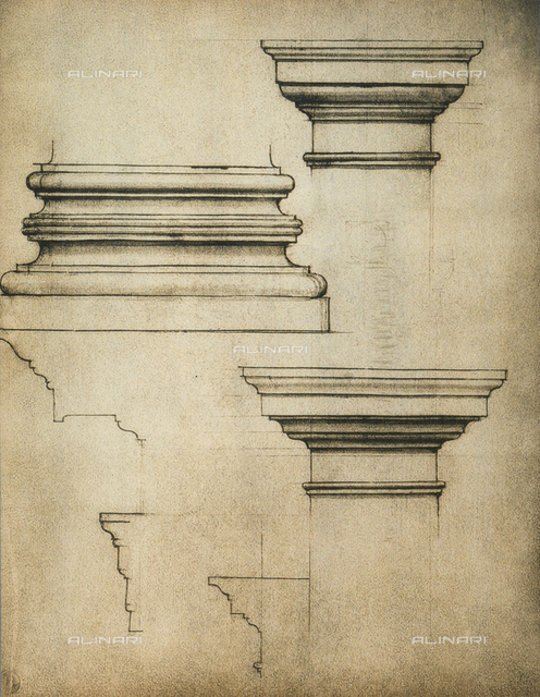 Base and capitals of a pilaster; drawing by Michelangelo. Casa Buonarroti, Florence