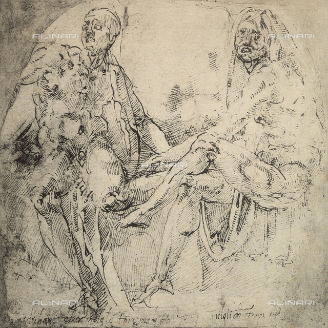 Two seated nude figures; drawing by Michelangelo. Casa Buonarroti, Florence