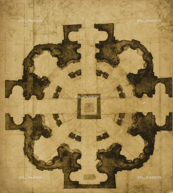 Plan of a church, Casa Buonarroti, Florence