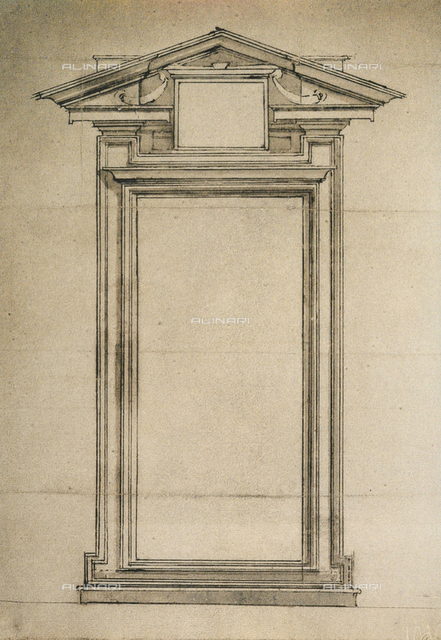 Door of the Biblioteca Laurenziana, drawing by Michelangelo, Galleria Buonarroti, Florence
