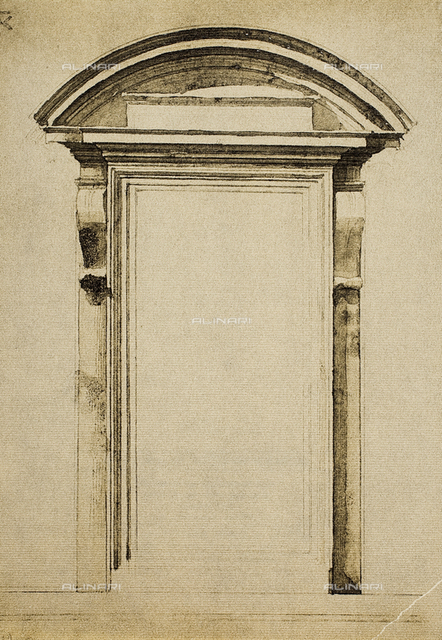 A window; drawing by Michelangelo. Casa Buonarroti, Florence