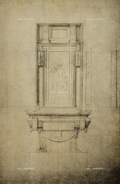 Study for one of the monuments in the Medici Chapel of the basilica of San Lorenzo; drawing by Michelangelo. Casa Buonarroti, Florence