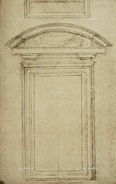 Architectonic study for a window; drawing by Michelangelo. Casa Buonarroti, Florence