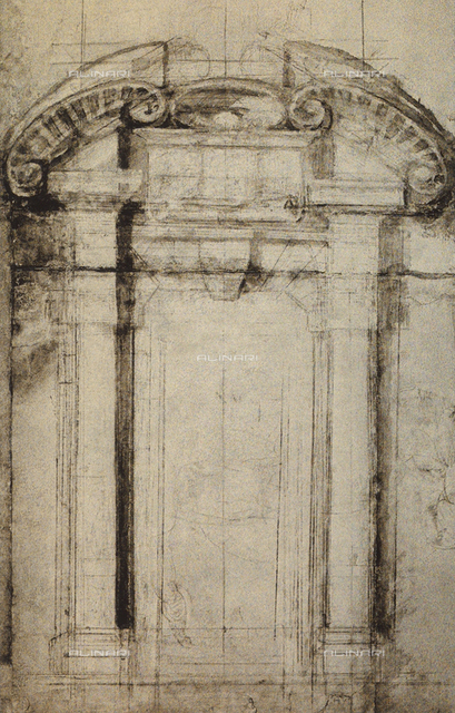 Architectonic study for a portal; drawing by Michelangelo. Casa Buonarroti, Florence