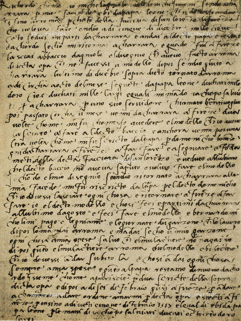 Page of a manuscript by Michelangelo. Casa Buonarroti, Florence
